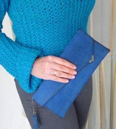 Leather Clutch Woman's Vallet Small Bag Blue Handbag