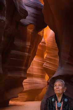 Head of Navajo Family Sue Tsosie in The Sanctum. Upper Antelope Canyon, Arizona, USA. - Upper-Antelope-Canyon-Arizona-USA - Mike Reyfman Photography