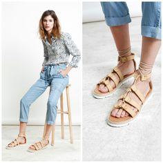 ¿Quiéres un #look #casual para esta #primavera? Sigue los #consejos de TELVA, con nuestras #sandalias anudadas, unos #jeans fluidos y una #camisa estampada. #Exe #Exeshoes #sandalias #sandaliasexe #colornude #telva #outfit