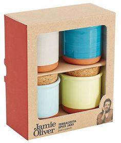 Jamie Oliver Set of 4 spice jars Kitchen Organization, Kitchen Storage, Food Storage, Chef Jamie Oliver, Cork Stoppers, Pinch Pots, Pot Sets, Spice Jars, Kitchen Styling