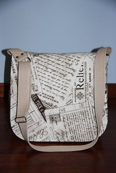 hand writing prints vintage large messenger by leyyabags on Etsy
