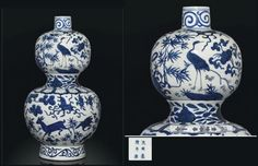 A RARE LARGE MING BLUE AND WHITE DOUBLE-GOURD VASE, JIAJING SIX-CHARACTER MARK AND OF THE PERIOD (1522-1566) The lower globular section painted with a lappet band above two cranes and two deer amidst 'The Three Friends of Winter', a peach tree and lingzhi sprigs, the upper section with a pair of cranes amidst lingzhi sprigs, prunus, bamboo, and two stylised shou characters, the narrow waist with a band of peach scroll, the neck and the foot encircled by classic scroll bands 28 in. (46 cm.)…