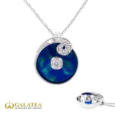 Beautiful blue waves of icy color compliment this pendant from Galatea's Illusia Collection. The Illusia Collection shows a blast of beautiful color that seems to appear magically within its highly polished 14K gold setting. Perfect for a fun date night!