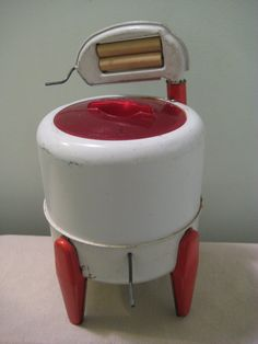 Vintage Wolverine Deluxe Washer Toy, tin, washing machine, household toy, for sale on Etsy.
