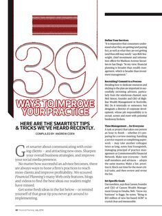 Financial Planning - July 2014 - 39 Ways to Improve Your Practice