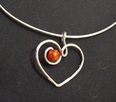 wire heart with bead  #handmade #jewelry #pendant