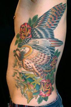 traditional osprey roses fish rib piece tattoo