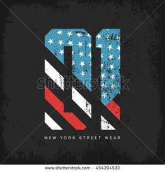 Vintage American flag old grunge effect tee print vector design. Premium quality superior sport number retro logo concept. New York street wear t-shirt emblem. Badge Design, Tee Design, American Logo, Grunge, Flag Logo, Logo Concept, Retro Logos, Vintage Typography, Sports Logo