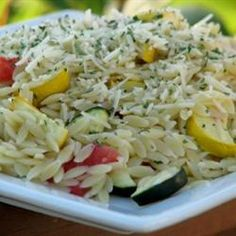 Roasted Vegetable Orzo - Add fresh parsley, basil & cheese and sub mushroom or veggie broth for chicken broth.