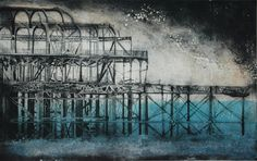 "West Pier Brighton, Monoprint, 47""x30"""