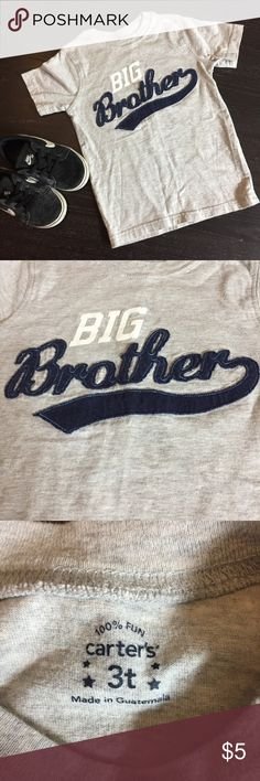 """Carter's """"Big Brother"""" Tee Carter's """"Big Brother"""" Boy's Tee. ⭐️EUC⭐️ Size 3. Varsity inspired style. Free free to make an offer using the link. 🚫 Trades. 📦 Fast shipping! Bundle items from my closet to save more! 💰 Carter's Shirts & Tops Tees - Short Sleeve"""