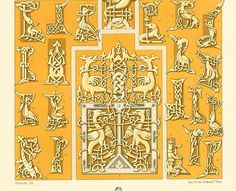 1885 Original Antique Print of Russian Ornaments, RACINET, Paris Antiques, 130 YEARS OLD