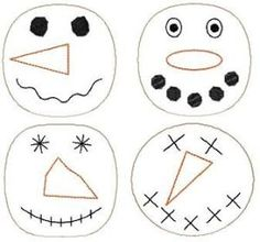 Free Patterns for snowman ornaments from fleece | Snowman Faces Ornies Large : HeartStrings Embroidery, Embroidery ... by elma Snowman Crafts, Snowman Ornaments, Christmas Projects, Holiday Crafts, Snowmen, Moose Crafts, Fall Crafts, Primitive Embroidery, Primitive Patterns