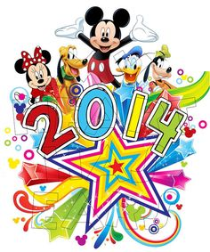 Printable DIY 2014 New Year Mickey Mouse gang by MyHeartHasEars, $5.00