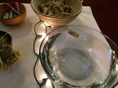 """baptism prayer stations - """"write your 'vintage year' on a cork"""" and the elements of your call."""