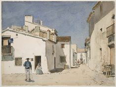 """Spanish Street,"" Childe Hassam, 1889, watercolor, 12 x 16 1/16"", Museum of Fine Arts, Boston."