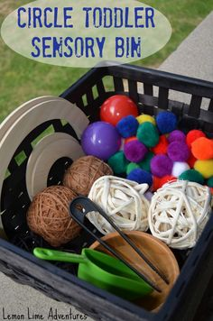 A really fun hands on activity, circle theme toddler sensory bin. www.LemonLimeAdventures.com