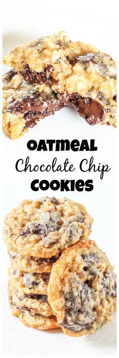 """I LOVE oatmeal chocolate chip cookies! I wish more places sold them! -- """"Oatmeal Chocolate Chip Cookies - The perfect dunking cookie. Mini Desserts, Cookie Desserts, Just Desserts, Cookie Recipes, Delicious Desserts, Dessert Recipes, Yummy Food, Think Food, Love Food"""