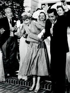 LUCILLE BALL & DESI ARNAZ Wedding scene for the film The Long Long Trailer in (1954).