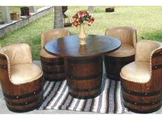 Full Outdoor Wine Barrel Patio Set A full 5 piece patio set made from full wine barrels and stained Wine Barrel Table, Wine Barrel Furniture, Wine Barrels, Wine Table, Wine Cellar, Patio Bar Set, Pub Table Sets, Patio Sets, Cozy Patio