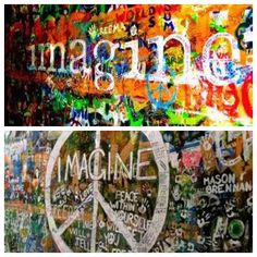 """These images were captured by local, Lesley Ellen Harris, in Prague, on the """"John Lennon Wall"""" which is forever changing by different graffiti artists.  This wall represents a symbol of global ideals such as love and peace. Find them HERE."""