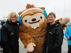 New Zealand athletes pose with Quatchi the mascot during the New Zealand flag raising ceremony at Olympic Plaza in the Athletes Village ahead of the Vancouver 2010 Winter Olympics on February 11, 2010. (Photo by Scott Halleran/Getty Images)