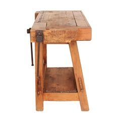 A great small-scale rustic carpenter's workbench from Italy.
