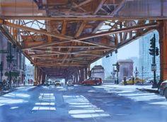 Wacker and lake Street. Watercolor by David R. Becker.