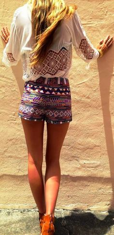 Tribal Shorts With Back Lace White Blouse