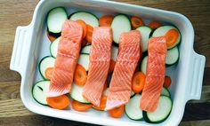 Ovnsbakt laks med grønnsaker i currysaus | EXTRA Flank Steak, Easy Healthy Dinners, Tuna, Salmon, Karry, Food And Drink, Fish, Ethnic Recipes, Skirt Steak