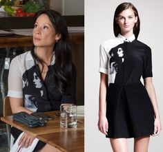 Joan Watson Elementary Black and white grapic print shirt dress Elementary Season 2 Fashion: The Marchioness
