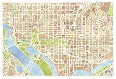 Washington DC watercolor city map Art Print by Anne E. McGraw | Society6