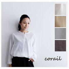 【corail コライユ】コットン レーヨン ビエラ 台衿 ブラウス(3113063)