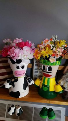 My cow and John deer or Packers lady planter!
