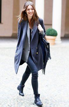 Oversized Coat + Oversized Blazer + Cropped Leather Pants + Lace-Up Boots + Fringe Bag.