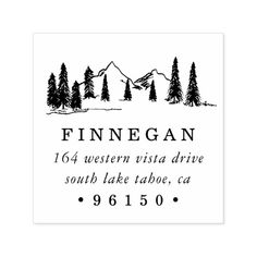 Tree Mountain Sketch Rubber Stamp