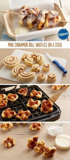 Mini Cinnamon Roll Waffles on a Stick Fair food only come around once a year. Give it a go by making these Mini Cinnamon Roll Waffles (and of course, they are on a stick! While you're at it, drizzle or dip the waffles into decadent icing too! Cinnamon Roll Waffles, Cinnamon Rolls, Cinnamon Sticks, Waffles On A Stick, Bacon On A Stick, Bacon Waffles, Cinnamon Bread, Yummy Treats, Sweet Treats