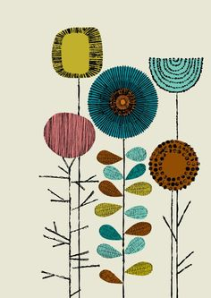 Love the mix of retro colors and modern shapes.  this would be great simplified as a wallpaper or printed onto pillow shams..maybe even embroidered. so many great ideas stem from this print