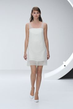 Go angelic in a sheer white shift dress. #LFW #Topshop Unique.
