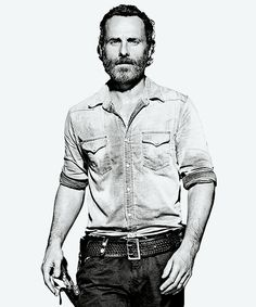 The Walking Dead - Rick Grimes in black and white