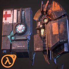 Half-Life 2 fan art - Health and HEV chargers, Thomas Ripoll Kobayashi Half Life 3 Confirmed, Half Life Game, Portal, Card Ui, V Games, Team Fortress, Epoch, 3d Projects, Life Drawing