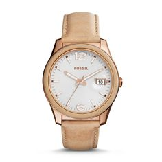 Fossil Perfect Boyfriend Three-Hand Date Leather Watch - Bone, ES3732| FOSSIL® Watches