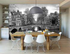 Vlies fotobehang Amsterdamse grachten zwart wit - Behang voor de keuken | Fotobehangen.nl