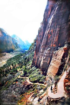 Zion National Park in Utah - Hiking Angel's Landing is SCARY yet cool. I couldn't finish the last .25 mile though - I was terrified. Have any of you finished it??