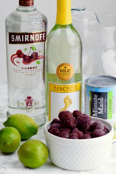 This Cherry Limeade Sangria comes together FAST with just FIVE INGREDIENTS!