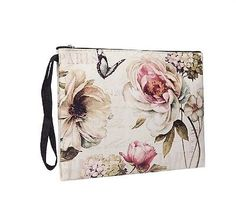 VINTAGE STYLE CREAM FLORAL BUTTERFLY  LADIES PU MAKE UP  BAG  PURSE GIFT IDEA  £6.95