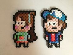 Dipper and Mable from Gravity Falls, perler beads, hama beads, bead sprites, nabbi fuse melty beads Pokemon Perler Beads, Diy Perler Beads, Perler Bead Art, Pearler Beads, Hama Beads Patterns, Beading Patterns, Gravity Falls, Graph Paper Art, Fall Patterns