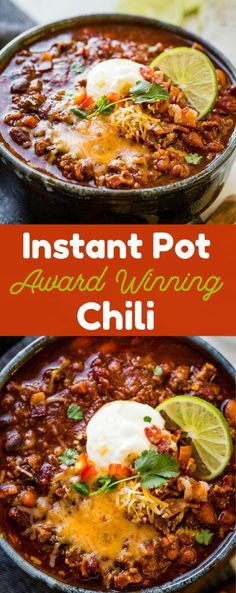 Instant Pot Award Winning Chili Instant Pot Chili that is award winning and bringing home chili cook-off victories across the country. You don't want to miss our best chili recipe ever! - Award Winning Instant Pot Chili Recipe - Oh Sweet Basil Best Chili Recipe Ever, Chili Recipe For Two, Chili Recipe Taste Of Home, Award Winning Chili, Award Winning Slow Cooker Chili Recipe, Potted Beef Recipe, Chili Cook Off, Instant Pot Dinner Recipes, Instant Pot Meals
