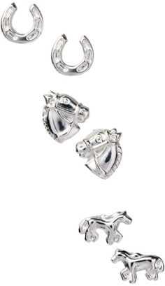 Sterling Silver Horse Stud Earring Set