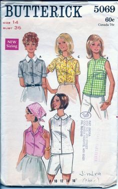 Vintage Sewing Patterns Blouse 1960s Butterick 5069 by TenderLane, $8.00